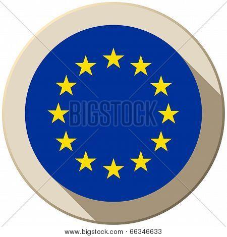Europe Flag Button Icon Modern