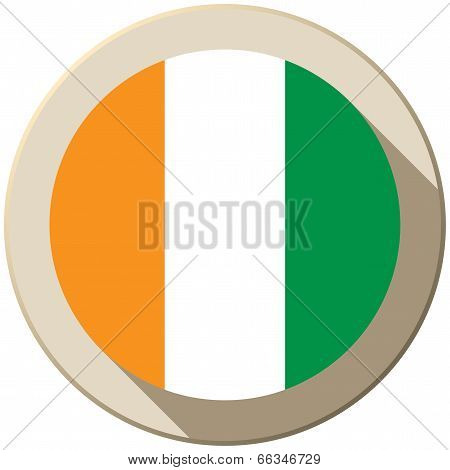 Ireland Flag Button Icon Modern