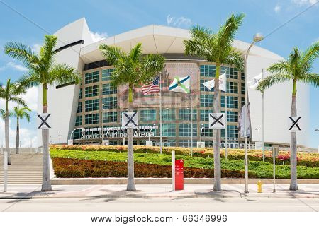 MIAMI,USA - MAY 27,2014 : The American Airlines Arena, home of the Miami Heat professional basketball team