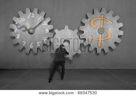 Linking Concrete Gears For Time Is Money Concept