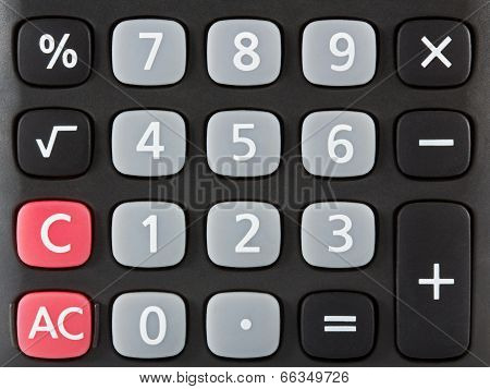 Closeup Of Black Calculator Keyboard