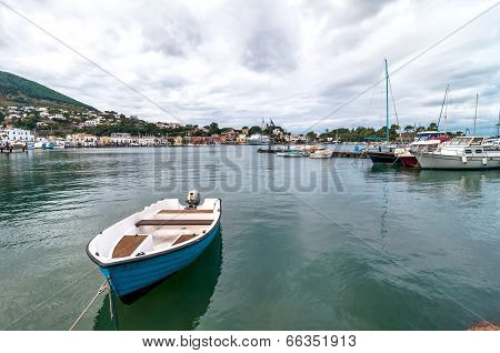 boat and harbor in Ischia island, Italy