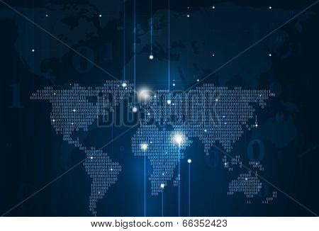 Abstract Binary Code Map Blue Background