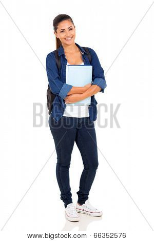 happy female college student on white background