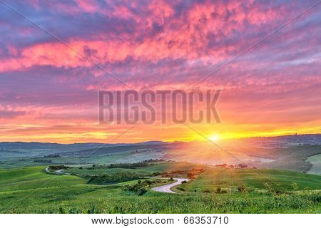 Beautiful Tuscany landscape at sunrise, Italy