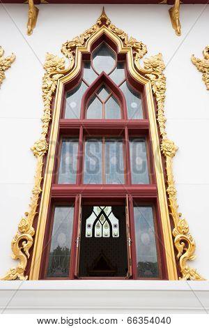 abstract golden lai Thai style art window