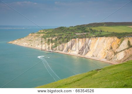 Alum Bay Isle of Wight coast next to the Needles tourist attraction