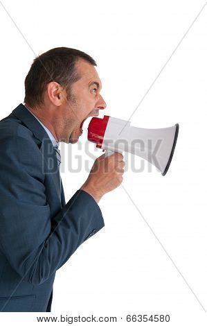 Businessman Shouting Megaphone Isolated