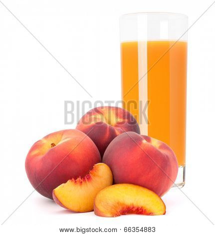 Peach fruit juice in glass isolated on white background cutout