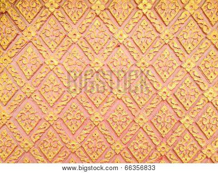 Abstract Golden-red Lai-thai Style Square-sameless Pattern Art