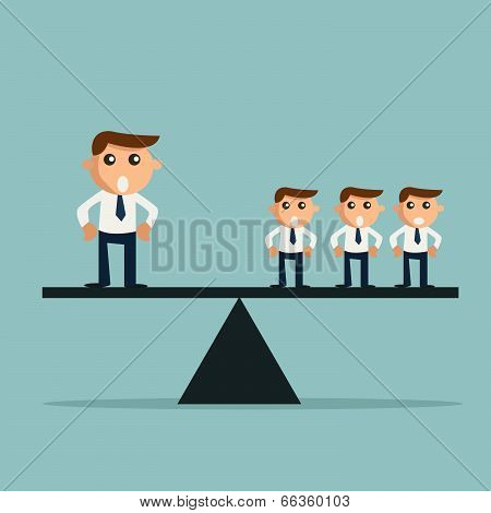 Businessman Weighting More Than Three Other Business People On A Balance On The Scale.