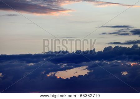 Sky With Dark Clouds At Sunset