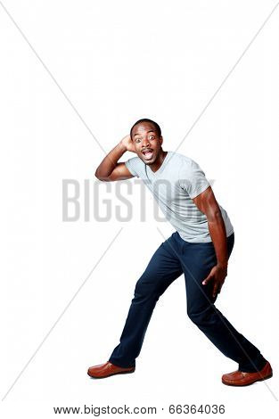 Portrait of a funny african man over white background