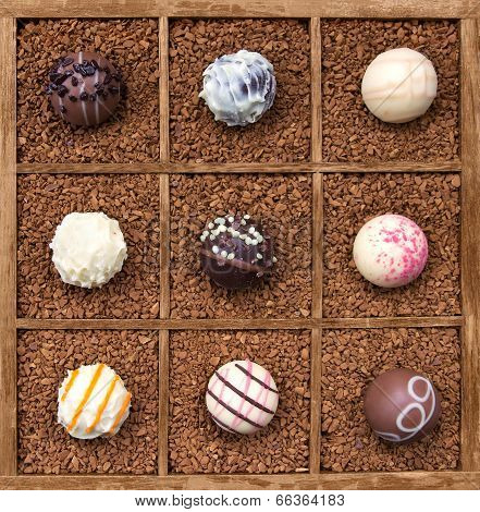 Assorted chocolates in wooden box