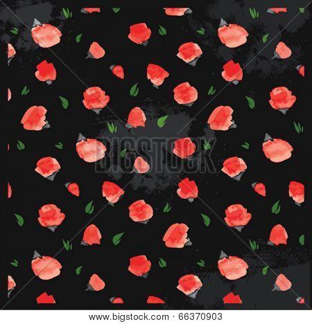 watercolor vintage flowers poppy pattern 2