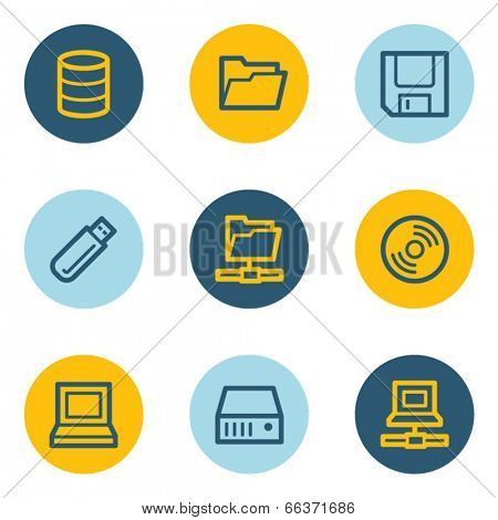 Drive and storage web icon set, blue and yellow circle buttons