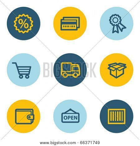 Shopping web icon set 2 , blue and yellow circle buttons