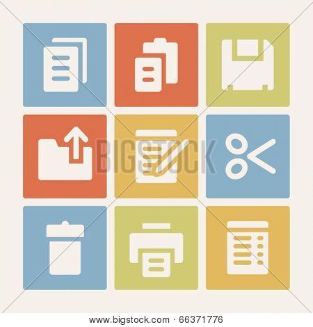 Document web icons set. Color buttons.