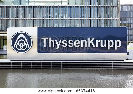 Essen, Germany - September 1, 2011: ThyssenKrupp logo in front of the new headquarter building. ThyssenKrupp AG is one of the world's largest steel producers.