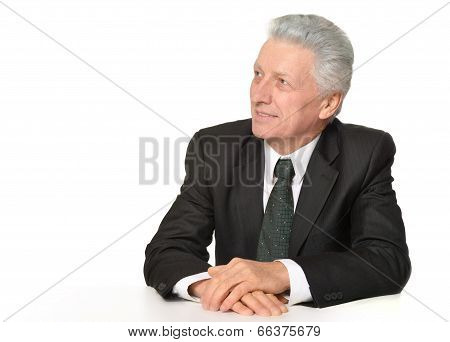 Elderly thoughtful businessman