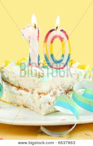 Slice Of Tenth Birthday Cake