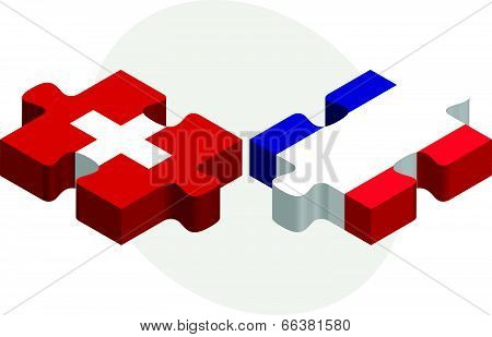 Vector illustration of Swiss and French Flags in puzzle isolated on white background