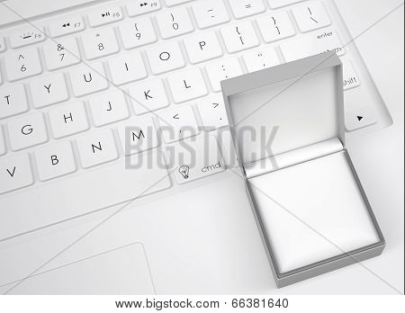 Box for jewelry on the keyboard