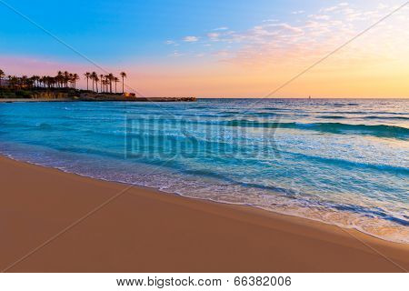 Javea Xabia El Arenal beach sunrise in Mediterranean Alicante Spain