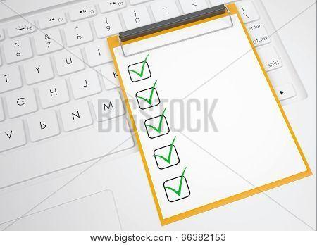 Checklist on the keyboard