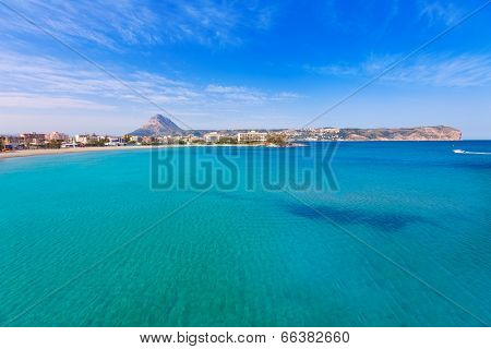 Javea playa del Arenal beach in Mediterranean Alicante at Xabia Spain