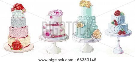 Vector creamy cakes collection isolated  on white background