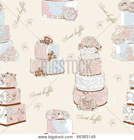 Vector seamless pattern with different creamy cakes