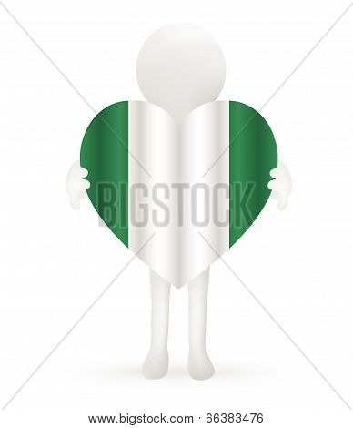 EPS Vector 10 - small 3d man holding a Nigerian Flag