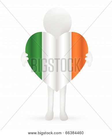 EPS Vector 10 - small 3d man holding an Irish Flag