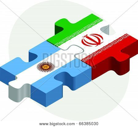 Vector illustration of Argentinian and Iranian Flags in puzzle isolated on white background