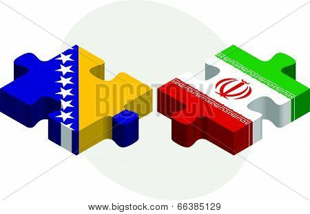Vector illustration of Bosnia Herzegovinan and Iranian Flags in puzzle isolated on white background