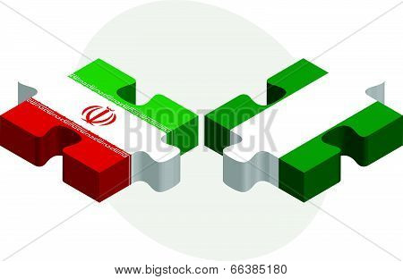 Vector illustration of Iranian and Nigerian Flags in puzzle isolated on white background