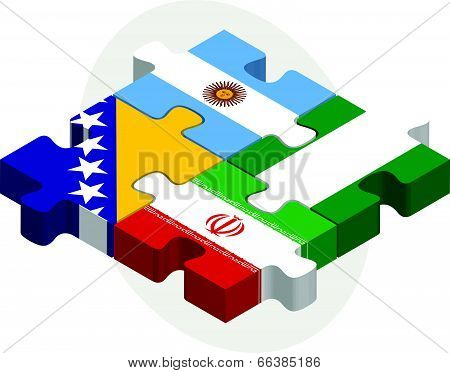 Vector illustration of Argentinian, Iranian, Bosnia Herzegovinan and Nigerian Flags in puzzle isolat
