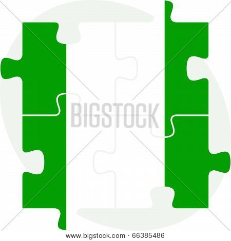 Nigerian Flag in puzzle isolated on white background
