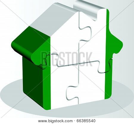 Vector illustration of house home icon with Nigerian flag in puzzle isolated on white background