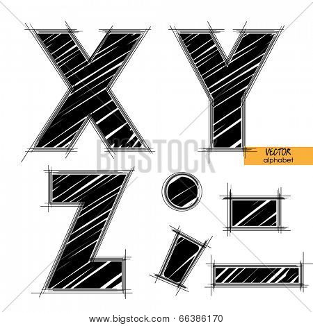 art sketched set of vector character classic black fonts, uppercase symbols, letters X, Y, Z, sign point, semicolon and comma, dash and underscore