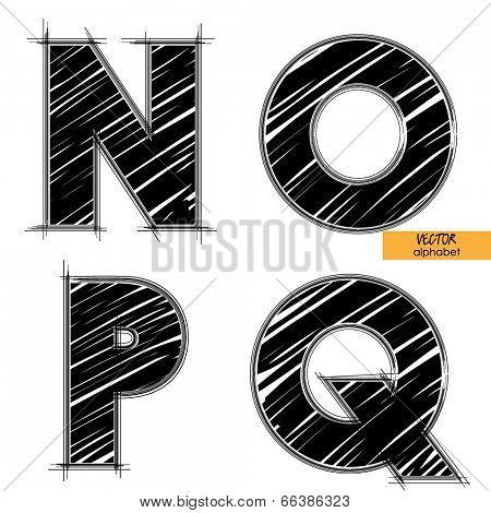 art sketched set of vector character classic black fonts, uppercase symbols, letters N, O, P, Q
