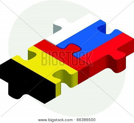 Vector illustration of Belgian and Russian Flags in puzzle isolated on white background
