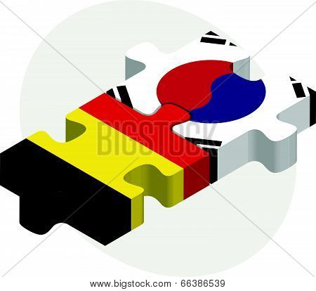 Vector illustration of Belgian and South Korean Flags in puzzle isolated on white background