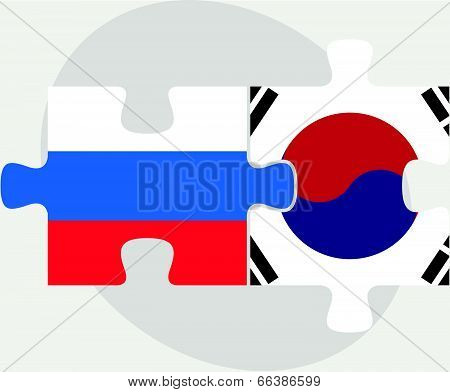 Russian and South Korean Flags in puzzle isolated on white background