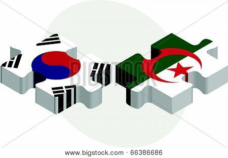 South Korean and Algerian Flags in puzzle isolated on white background