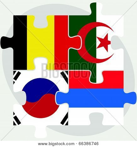 Belgian, Algerian, Russian and South Korean Flags in puzzle isolated on white background
