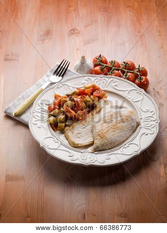 escalope with eggplants and tomatoes