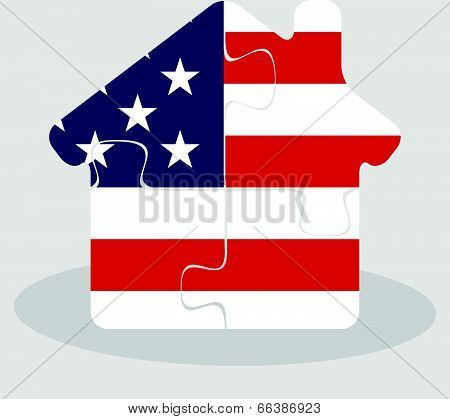 house home icon with USA flag in puzzle isolated on white background