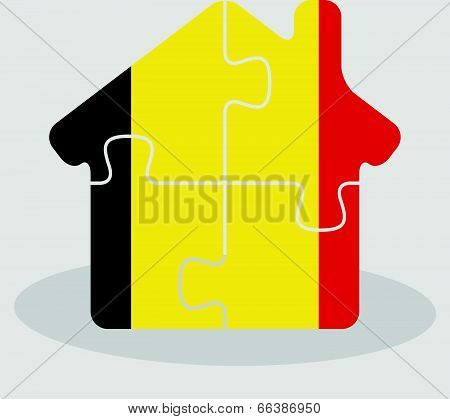 house home icon with Belgian flag in puzzle isolated on white background